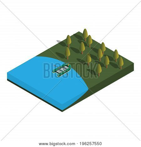The concept of fishing. The boat in the lake. Vector isometric illustration. Vector isometric illustration.