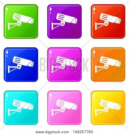 Security camera icons of 9 color set isolated vector illustration