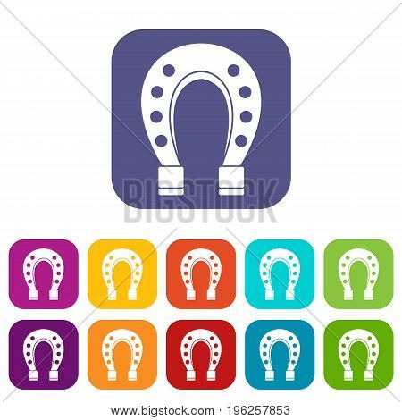 Horse shoe icons set vector illustration in flat style in colors red, blue, green, and other