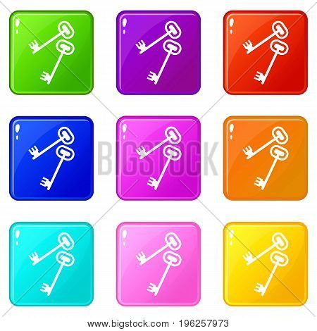 Keys icons of 9 color set isolated vector illustration