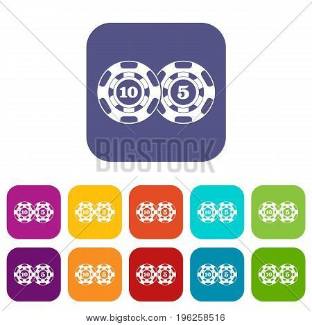 Poker chips nominal five and ten icons set vector illustration in flat style in colors red, blue, green, and other