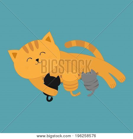 Cat mother feeding kittens. Mom kitty laying on the floor and nursing little cats. Milk feed. Breastfeeding pet animal. Cute cartoon character Flat design Blue background Isolated Vector illustration