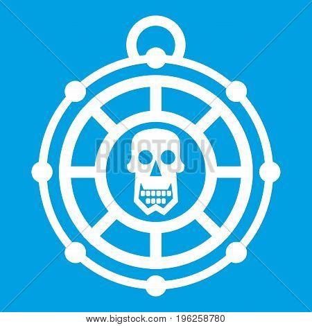 Pirate amulet icon white isolated on blue background vector illustration