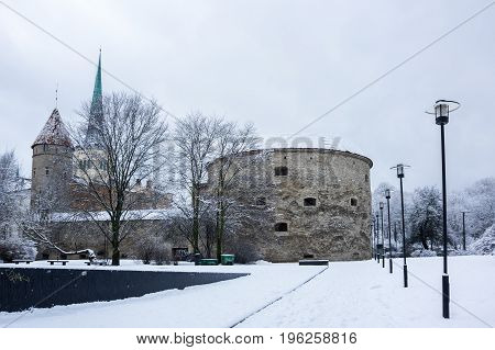 Fat Margaret's Tower in Old Town of Tallinn Estonia.