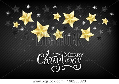 Christmas luxury black background with golden black and white stars and lettering wishes. Horizontal holiday greeting card