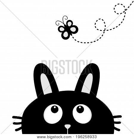 Black rabbit bunny face head silhouette looking up to flying butterfly. Dash line loop. Cute cartoon animal character. Baby card. Sticker print template. Flat design. White background Isolated. Vector