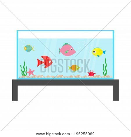 Fish set swimming at aquarium. Star crab seaweed stones bubbles water waves. Fish tank on the table. Shining glass. Baby kids collection. Cute cartoon character Flat design Vector illustration