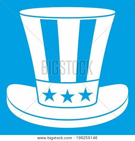 American hat icon white isolated on blue background vector illustration