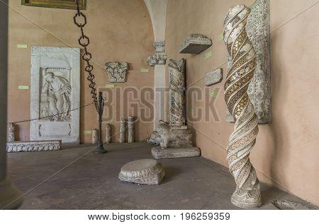 Detail of interior the Basilica di San Giovanni in Laterano (St. John Lateran basilica). Beautiful twisted column of inlaid marble. Italy Rome June 2017