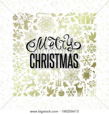 Christmas greeting card with golden ornamental design elements and lettering wishes. Holiday background with pattern from gold decorations.