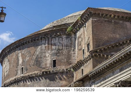 Detail of Pantheon in Rome. Close view exterior. Pantheon was built as a temple to all the gods of ancient Rome. Rome Italy. June 2017
