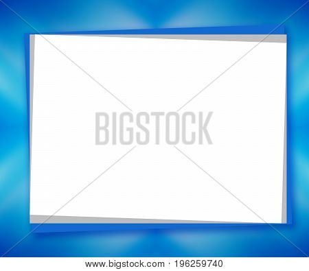 White piece of paper on blurred abstract blue background; large text place. Winter mockup frame. Template design for greeting cards, postcards, scrapbooks, photo albums, posters, flyers, booklets, presentations