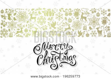 Christmas greeting card with golden ornamental design elements and lettering wishes. Holiday horizontal background with border from luxury decorations.