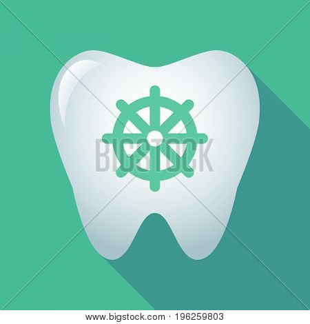 Long Shadow Tooth With A Dharma Chakra Sign