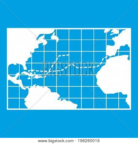 Map trips of Columbus icon white isolated on blue background vector illustration