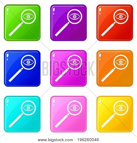 Magnifying glass icons of 9 color set isolated vector illustration