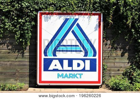 An image of a ALDI supermarket sign - logo - Bad Pyrmont/Germany - 07/17/2017