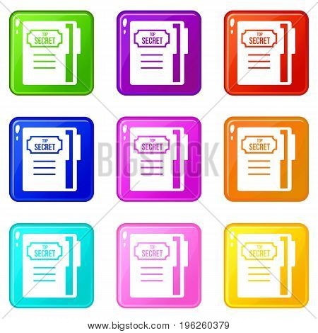 Notepad icons of 9 color set isolated vector illustration