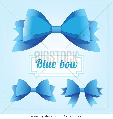 Collection of blue bows. Luxury ribbons collection. Vector bow for page decor isolated on blue