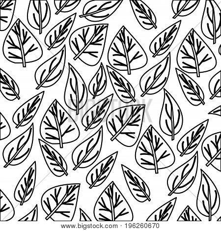 monochrome pattern of ovoid leaves vector illustration