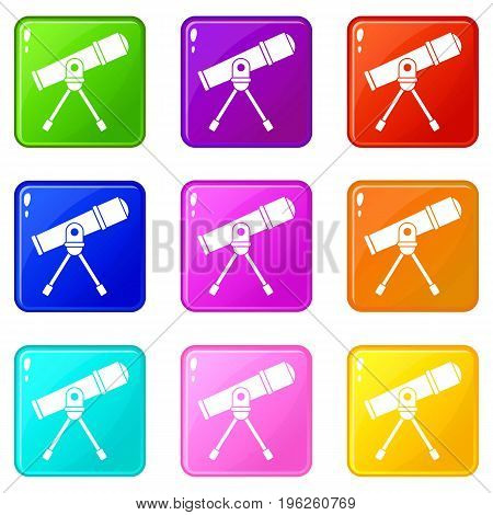 Space telescope icons of 9 color set isolated vector illustration