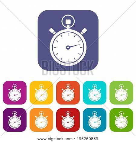 Stopwatch icons set vector illustration in flat style in colors red, blue, green, and other