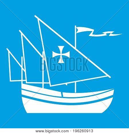 Ship of Columbus icon white isolated on blue background vector illustration