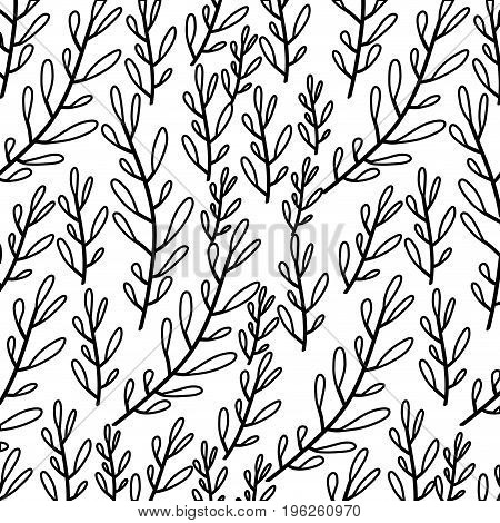 monochrome pattern of branches with ovoid leaf vector illustration