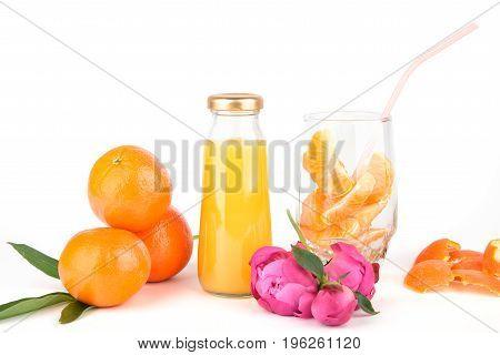 Orange Fresh Juice In Bottles.
