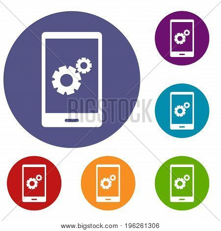 Working phone icons set in flat circle red, blue and green color for web