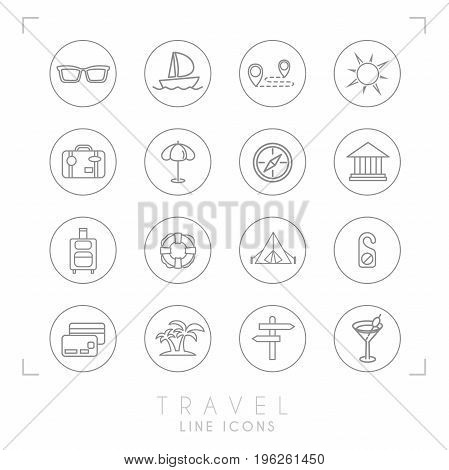Outline thin travel and vacation icons set in circles. Sunglasses yacht route sun suitcase umbrella compass museum luggage lifebuoy camping tent do not disturb message money card palms arrows cocktail.