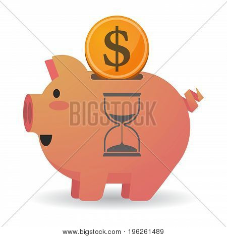 Isolated  Piggy Bank With A Sand Clock