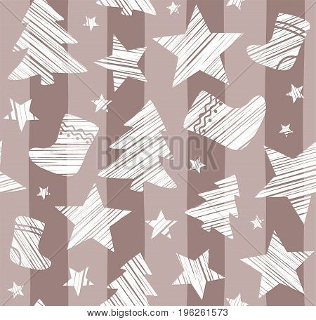 Christmas background, sock, star, tree, seamless, brown, gray, vector. White Christmas trees, socks and stars are drawn with a diagonal stroke on a taupe striped background.