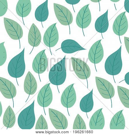white background with colorful pattern of ovoid leaves vector illustration