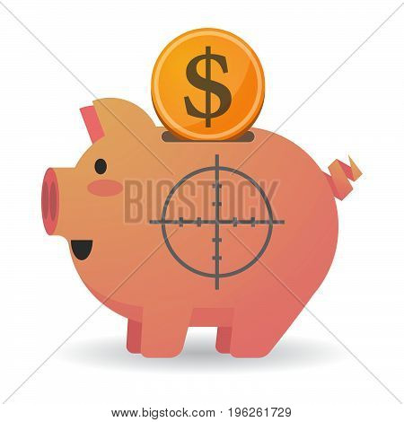 Isolated  Piggy Bank With A Crosshair