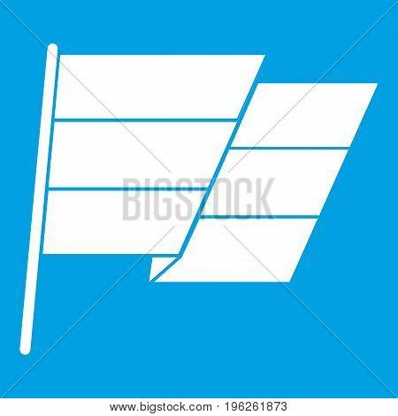 Flag icon white isolated on blue background vector illustration