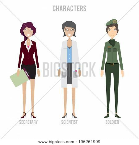 Character Set include secretary, soldier and scientist | set of vector character illustration use for human, profession, business, marketing and much more.The set can be used for several purposes like: websites, print templates, presentation templates, an