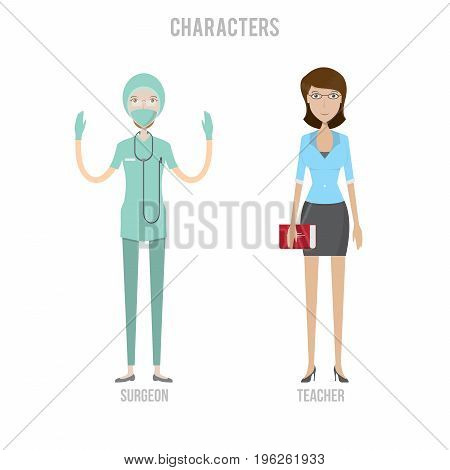 Character Set include teacher and surgeon | set of vector character illustration use for human, profession, business, marketing and much more.The set can be used for several purposes like: websites, print templates, presentation templates, and promotional