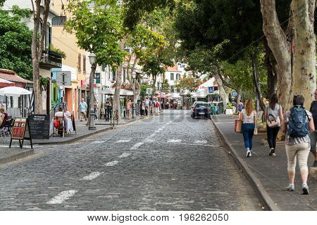 FUNCHALMADEIRA PORTUGAL SEPTEMBER 4 2016: Zone Velha - the oldest district famous for its best restaurants and cafes in Funchal. Madeira Portugal