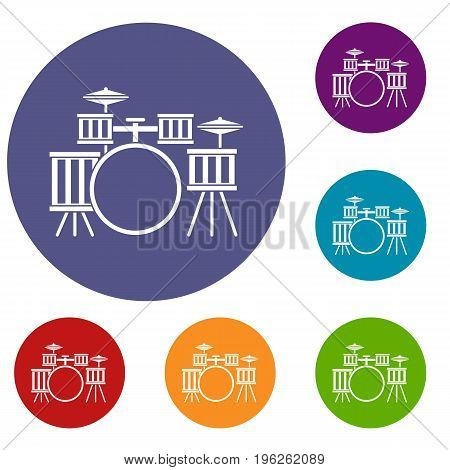 Drum kit icons set in flat circle red, blue and green color for web
