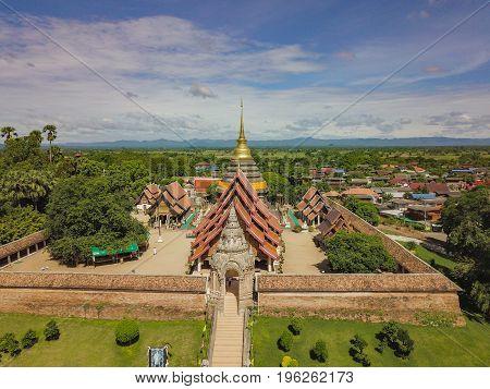 Front Aerial view of Wat Phra That Lampang Luang a landmark of Lampang city Thailand