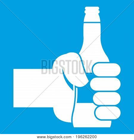 Hand holding bottle of beer icon white isolated on blue background vector illustration