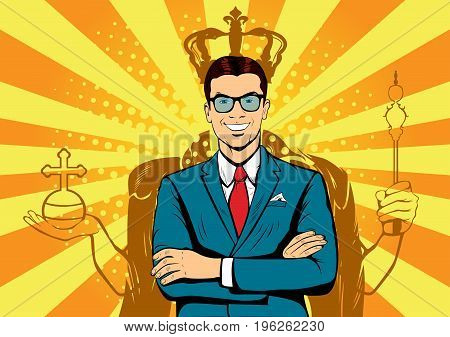 Business king. Businessman with shadow as king. Man leader, success boss, human ego. Vector retro pop art illustration.