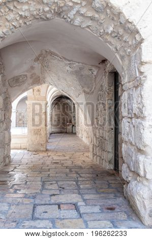 Small courtyard near the entrance to the Room of the Last Supper in Jerusalem Israel.