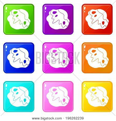 Moon stone icons of 9 color set isolated vector illustration