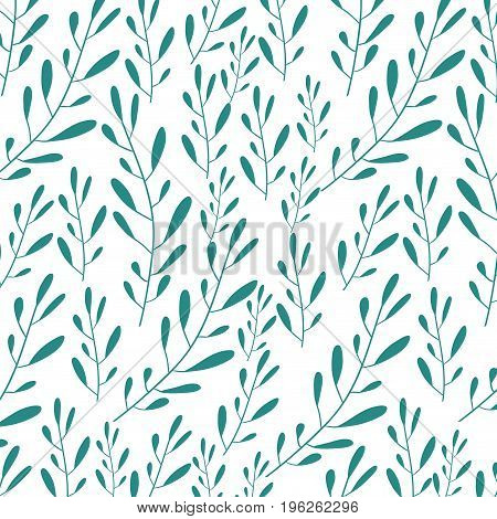 white background with colorful pattern of branches with ovoid leaf vector illustration