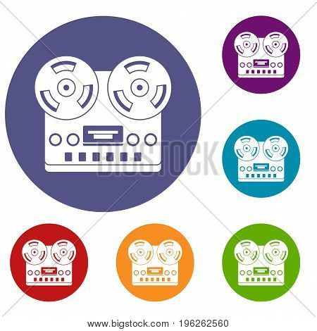Retro tape recorder icons set in flat circle red, blue and green color for web
