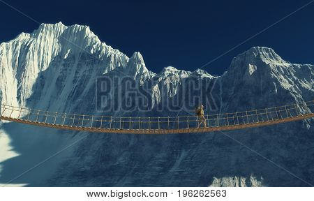 Traveler with a backpack on the bridge of the strings in the mountains. This is a 3d render illustration