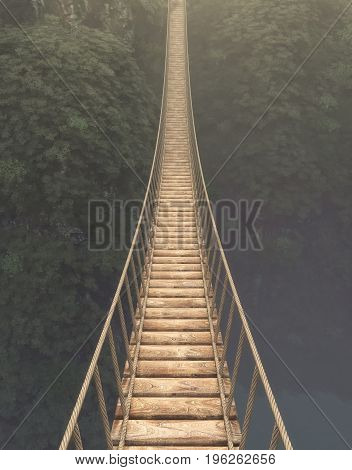 Rope bridge suspended between mountains. This is a 3d render illustration.