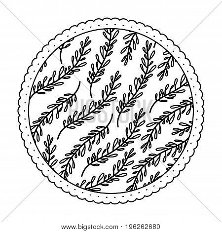 monochrome round frame with pattern of branches with ovoid leaves vector illustration